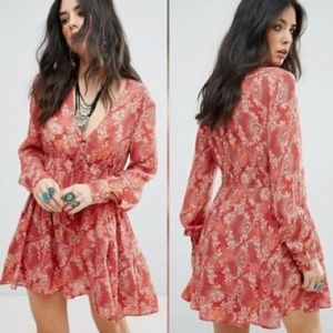 Free People Floral Red Orange Button Cinch Tunic